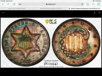 Click now to see the BUY IT NOW Price! 1869/8 THREE CENT SILVER PROOF PCGS PR 65