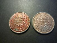 PAIR OF SHOWBIX PIZZA PLACE TOKENS DIFFERENT DIES TONED COPPER PLATED ISSUES