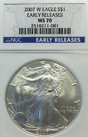 2007-W BURNISHED SILVER EAGLE MS70 EARLY RELEASE NGC SE-42