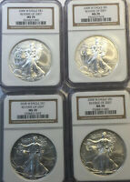 2008-W REVERSE 2007 SILVER EAGLE NGC MS70, NO SPOTS OR ANY MARKS