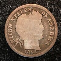 1894 BARBER DIME - HIGH QUALITY SCANS F502