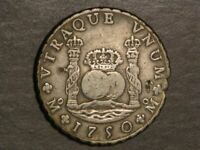 MEXICO 1750MOMF 8 REALES PILLARS SILVER CROWN VF
