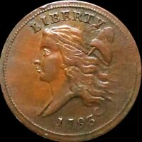 1793 LIBERTY CAP FLOWING HAIR HALF CENT ABOUT UNCIRCULATED PHILLY 1/2C COPPER NR