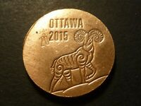 ROYAL CANADIAN MINT 2015 YEAR OF THE RAM OTTAWA   STRIKE YOUR OWN COPPER TOKEN