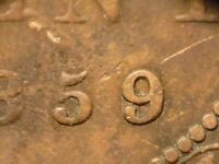 CANADA 1859 WIDE 9/8 NICE ORIGINAL COIN