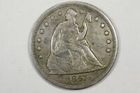 1847 LIBERTY SEATED DOLLAR, EXTRA FINE