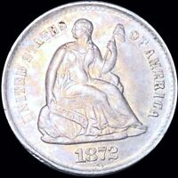 1872 S SEATED HALF DIME APPEARS UNCIRCULATED SAN FRANCISCO M