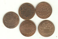 LOT OF 5 CIRCULATED TWO CENT PIECES ALL 1864