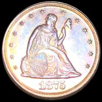 1875 SEATED TWENTY CENT PIECE HIGHLY PROOF PHILLY PR PF COLORFUL LIBERTY SILVER