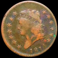 1814 CLASSIC HEAD LARGE CENT NICELY CIRCULATED PHILADELPHIA 1C COPPER COIN NR
