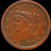 1849 BRAIDED HAIR HALF CENT ABOUT UNCIRCULATED PHILADELPHIA