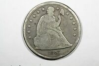 1843 LIBERTY SEATED DOLLAR, CHOICE VG