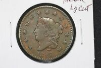 1827 CORONET HEAD LARGE CENT,  FINE