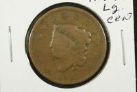 1827 CORONET HEAD LARGE CENT,  GOOD