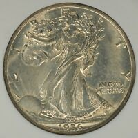 1936-D WALKING LIBERTY HALF DOLLAR ANACS MINT STATE 62-  LUSTER, LIGHT GOLD TONE