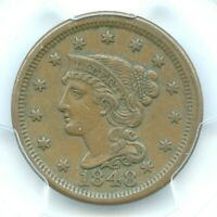 1848 BRAIDED HAIR HEAD LARGE CENT, PCGS EXTRA FINE 45