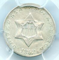 1852 THREE CENT SILVER, PCGS MINT STATE 63