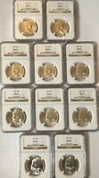 1955 FRANKLIN HALF SILVER DOLLAR NGC MINT STATE 64.10 COINS.ALL FROSTY WHITE LUSTER