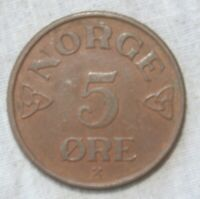 1954 NORWAY 5 ORE  COIN   SHIPS FREE