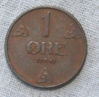 1941 NORWAY 1 ORE  WWII COIN   VG