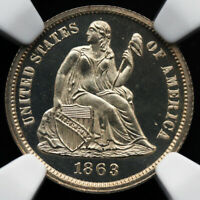 1863 SEATED LIBERTY DIME NGC MINT STATE 65 ULTRA CAMEO GORGEOUS