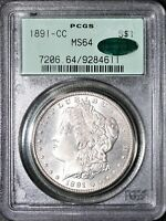 1891-CC MORGAN SILVER DOLLAR PCGS MINT STATE 64 CAC OGH VAM-2 SOLD FOR $1800 ON HERITAGE