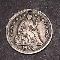 1856 SEATED LIBERTY SILVER HALF DIME 5C FULL LIBERTY HIGH GRADE DETAILS HOLED