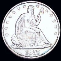 1857 O SEATED HALF DOLLAR CLOSELY UNCIRCULATED NEW ORLEANS 5