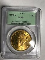 1899 S $20 GOLD LIBERTY DOUBLE EAGLE MS61