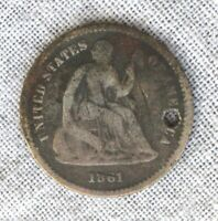 1861 SILVER SEATED LIBERTY HALF DIME      SHIPS FREE