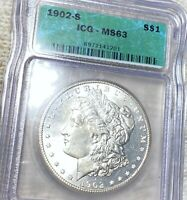 1902-S MORGAN SILVER DOLLAR ICG - MINT STATE 63 HUNDREDS OF UNDERGRADED COINS UP NR