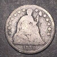 1858/1858 SEATED LIBERTY SILVER HALF DIME 5C COLLECTIBLE TYPE COIN