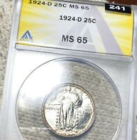 1924 D STANDING SILVER QUARTER ANACS   MS65 HUNDREDS OF UNDERGRADED COINS UP NR