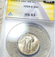 1929 D STANDING SILVER QUARTER ANACS   MS63 HUNDREDS OF UNDERGRADED COINS UP NR