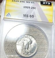 1925 STANDING SILVER QUARTER ANACS   MS65 HUNDREDS OF UNDERGRADED COINS UP NR