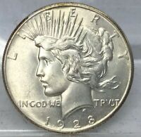 1928 PEACE SILVER DOLLAR AU CLEANED