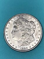 1890 P MORGAN SILVER DOLLAR, AU CONDITION