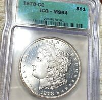 1878-CC MORGAN SILVER DOLLAR ICG - MINT STATE 64 HUNDREDS OF UNDERGRADED COINS UP NR
