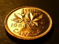 MISALIGNED REVERSE DIE   CANADA 1964 BU 1 CENT FROM MINT BAG
