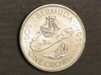 BERMUDA 1959 1 CROWN MAP/SHIPS SILVER BU