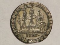 DANISH WEST INDIES 1767 12 SKILLING SHIP SILVER VF