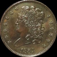 1834 CLASSIC HEAD HALF CENT APPEARS UNCIRCULATED PHILADELPHIA MS BU 1/2C COPPER