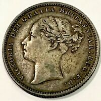 1886   SHILLING   UK   92.5  SILVER   YOUNG QUEEN VICTORIA