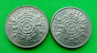 MINT  UNC  PAIR  ELIZABETH  II   1962/65   FLORIN   .FROM  L