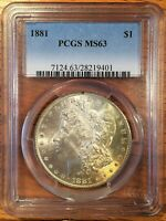 1881 MORGAN SILVER DOLLAR - PCGS MINT STATE 63 - CHECK THE  HIGH QUALITY SCANS 9401