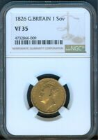GREAT BRITAIN 1826 SOVEREIGN NGC VF 35