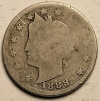1888 V NICKEL LIBERTY COIN 5C US  TOUGH DATE HOLE FILLER CLEAR DATE