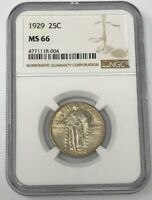 1929-P 25C STANDING LIBERTY QUARTER NGC MINT STATE 66