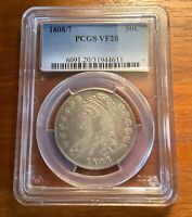 1808/7  CAPPED BUST SILVER HALF DOLLAR PCGS VF 20