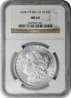 1878-P MORGAN SILVER DOLLAR, 7TF REVERSE OF 1878, MINT STATE 64, NGC